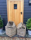 Wicker Large log Basket With Hessian Lining