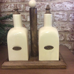 Country Ceramic Oil & Vinegar Set on a Wooden Set