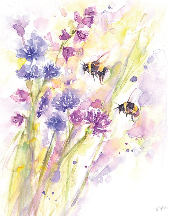 Bees And Wildflowers Canvas Picture