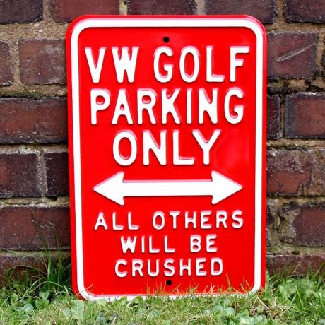 Metal Red Golf Parking Sign
