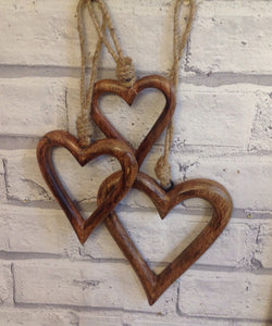 Set Of 3 Smaller Chunky Wooden Hearts