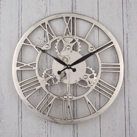 Nickel Cog Wall Clock