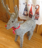 Small Grey Washed Rattan Reindeer