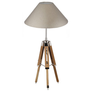 Adjustable Wood Base Tripod Lamp