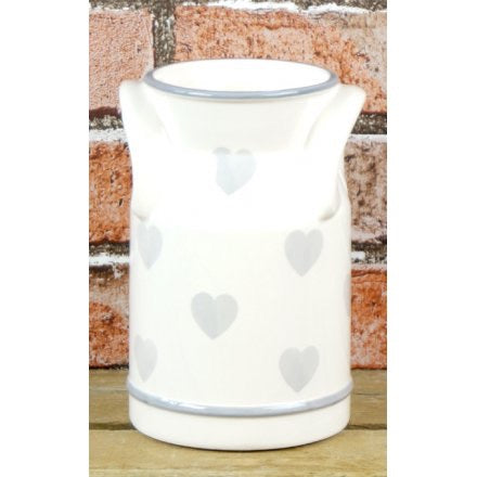 Ceramic Milk Churn Vase With Grey Hearts