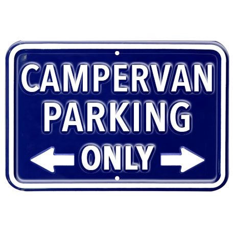 Metal Blue Campervan Parking Sign