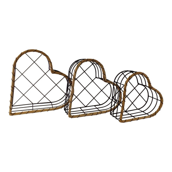Set Of 3 Heart Storage Baskets