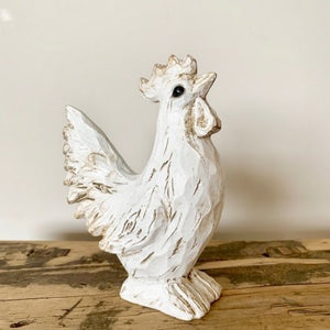 White Effect Wooden Hen