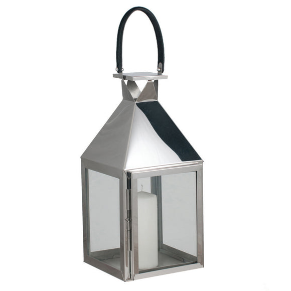 Polished Nickel And Glass Hurricane Lantern