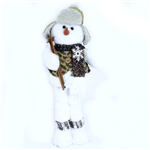 Fabric Snowman With Skis