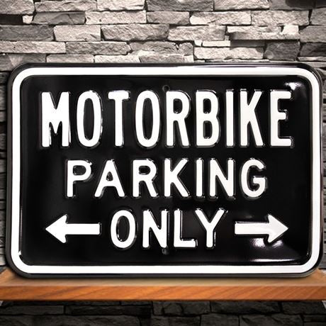 Metal Black Motorbike Parking Sign