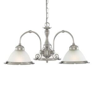 Diner 3 Light Fitting In Satin Silver
