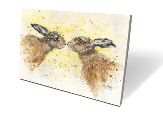 Kissing Hares Box Canvas Picture