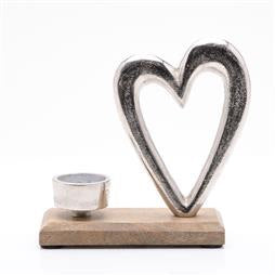 Chrome Metal Heart With Candle Holder
