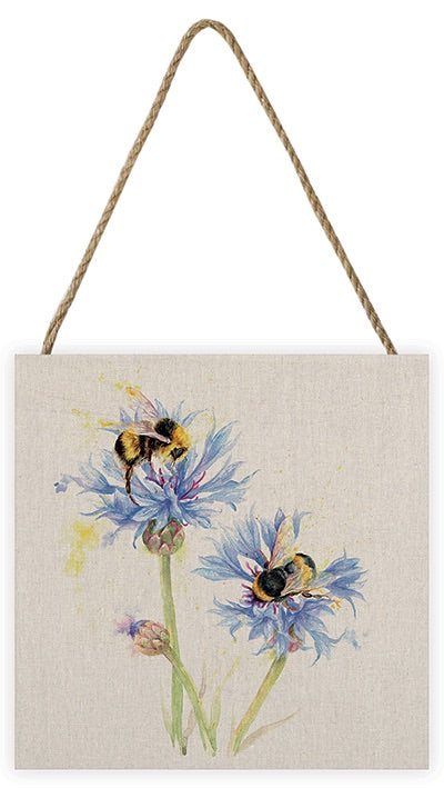 Cornflowers And Bee Wooden Picture