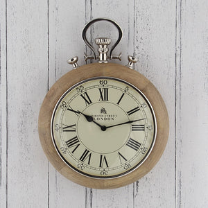 Stopwatch Wall Clock In Nickel And Wood Finish