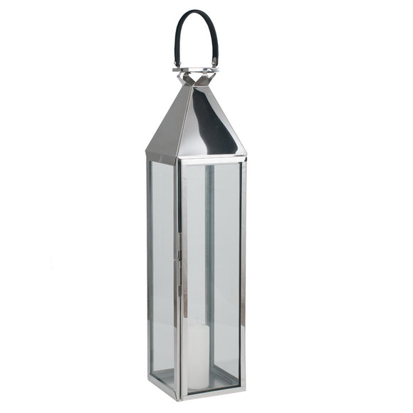 Polished Nickel And Glass Tall Hurricane Lantern