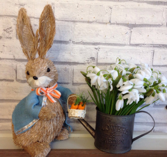 Bristle Straw Bunny With Carrot Basket
