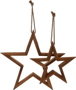 Set Of 2 Wooden Stars