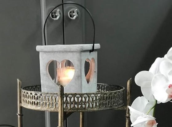 Grey Heart Candle Lantern