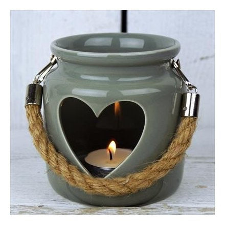 Green/Grey Porcelain Heart Tealight Holder