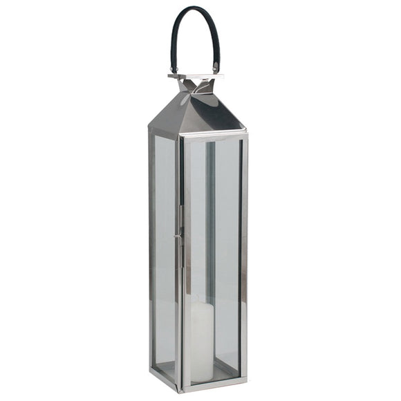 Polished Tall Nickel And Glass Hurricane Lantern