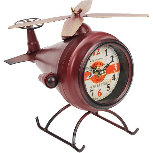 Red Helicopter Mantel Clock