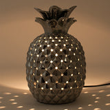 Pineapple Metallic Silver Ceramic Table Lamp