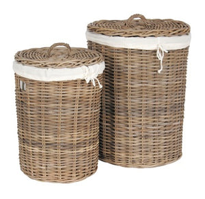 Wicker Set Of 2  Round Baskets