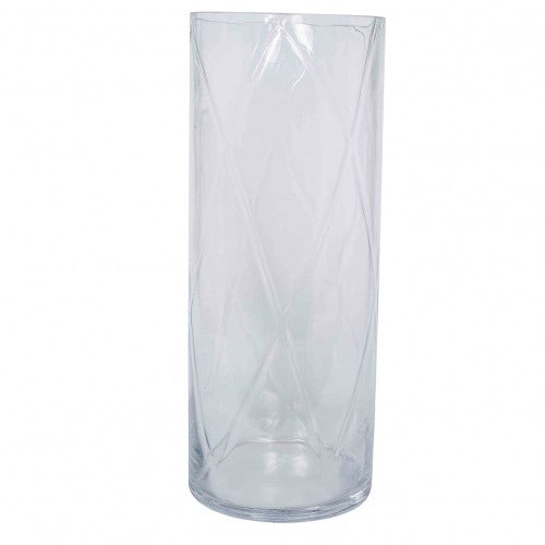Wave Clear Glass Optic Vase Large