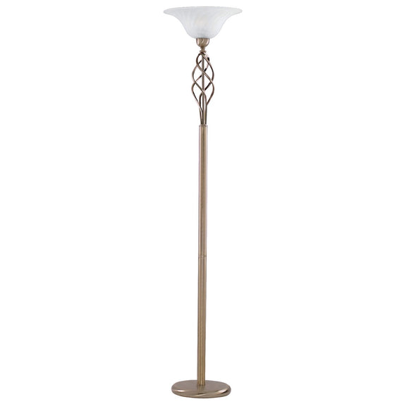 Antique Brass Floor Lamp With Glass Shade