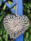 Grey Wicker Heart Small