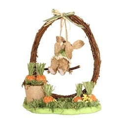 Bristle Straw Bunny On Swing Scene