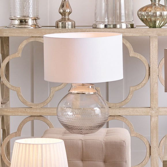 Hand Cut Clear Glass And Nickel Base Table Lamp
