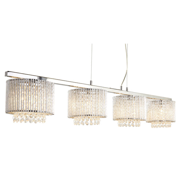 Chrome And Crystal Contemporary Light Fitting