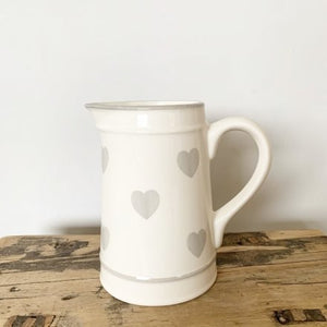 White Jug With Small Grey Heart Detail