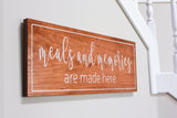 "Meals and Memories Are Made Here - 9""x24"" Home Decor Sign"