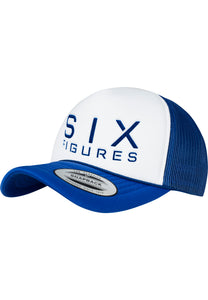 SIX FIGURES Trucker Cap - White + Royal Blue - Six Figures Official