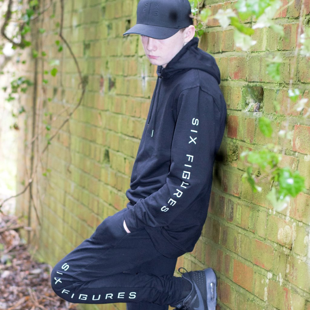 Youth 'Six Figures' Side Logo Tracksuit Hoodie - Black - Six Figures Official