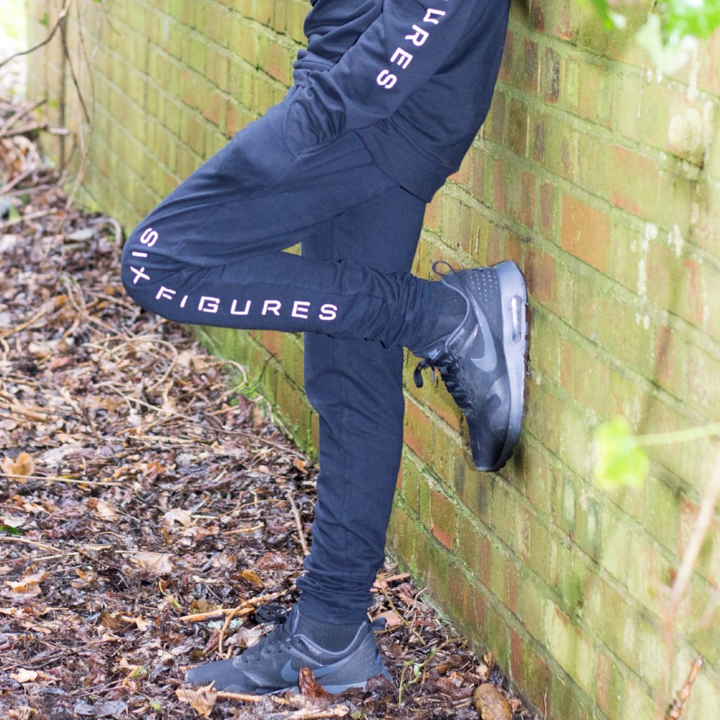 Youth 'Six Figures' Side Logo Tracksuit Joggers - Black - Six Figures Official