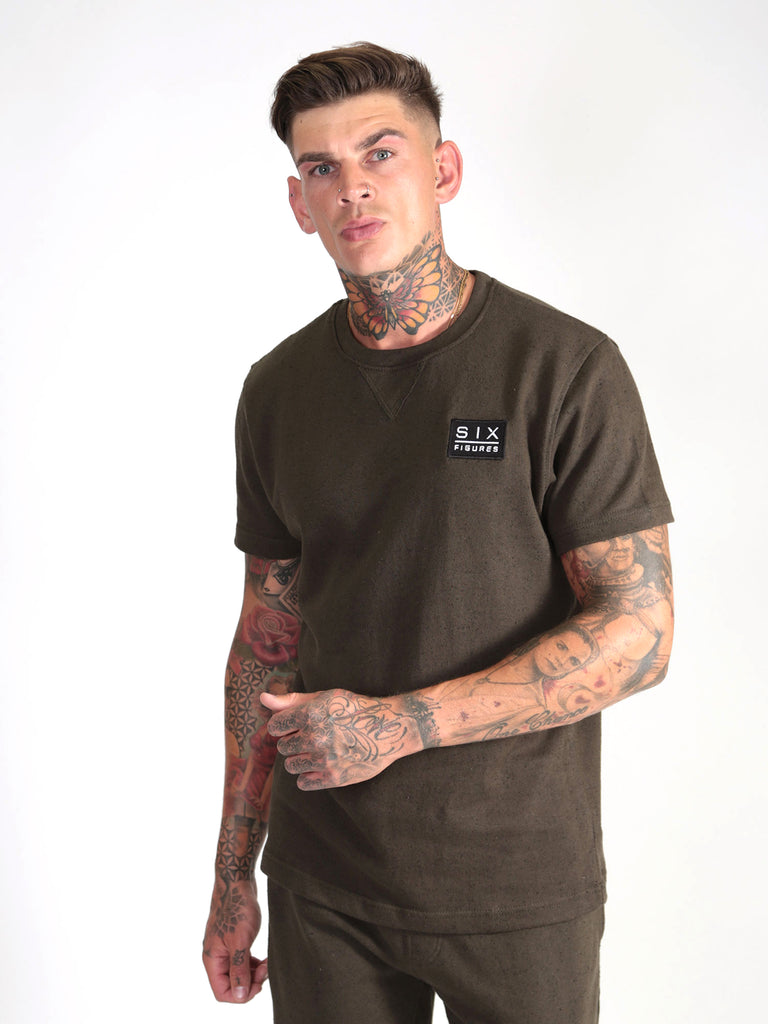 Fleck Short Sleeved Top - Khaki