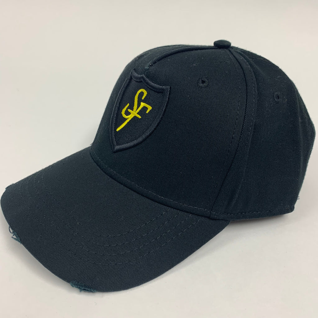 SIX FIGURES Distressed Cap - Black + Yellow Shield