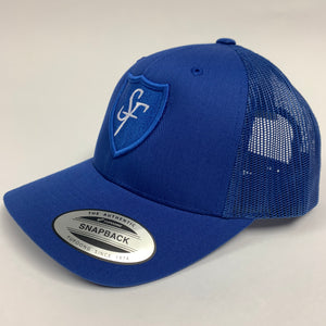 SIX FIGURES Shield Trucker Cap - Blue