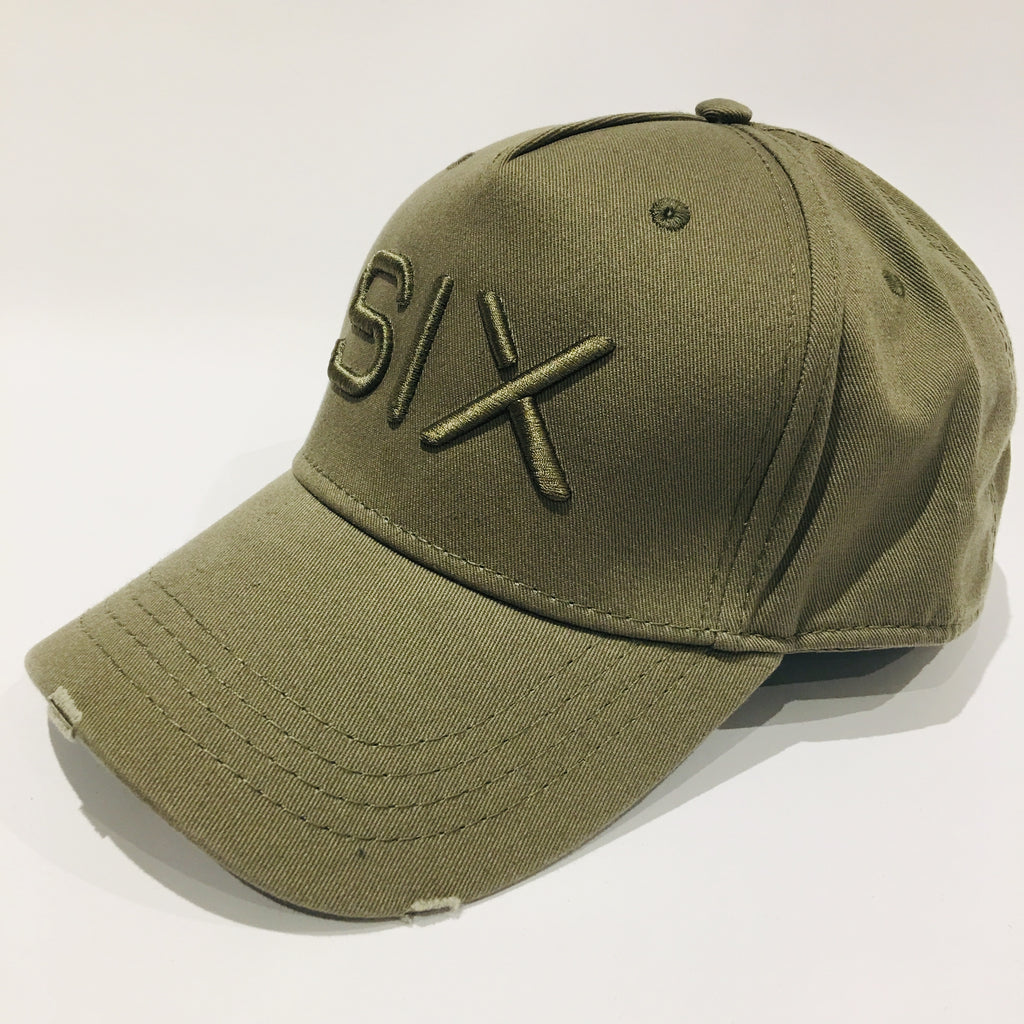 SIX FIGURES Distressed Cap - Khaki + Khaki