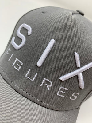 SIX FIGURES Distressed Cap - Grey + White