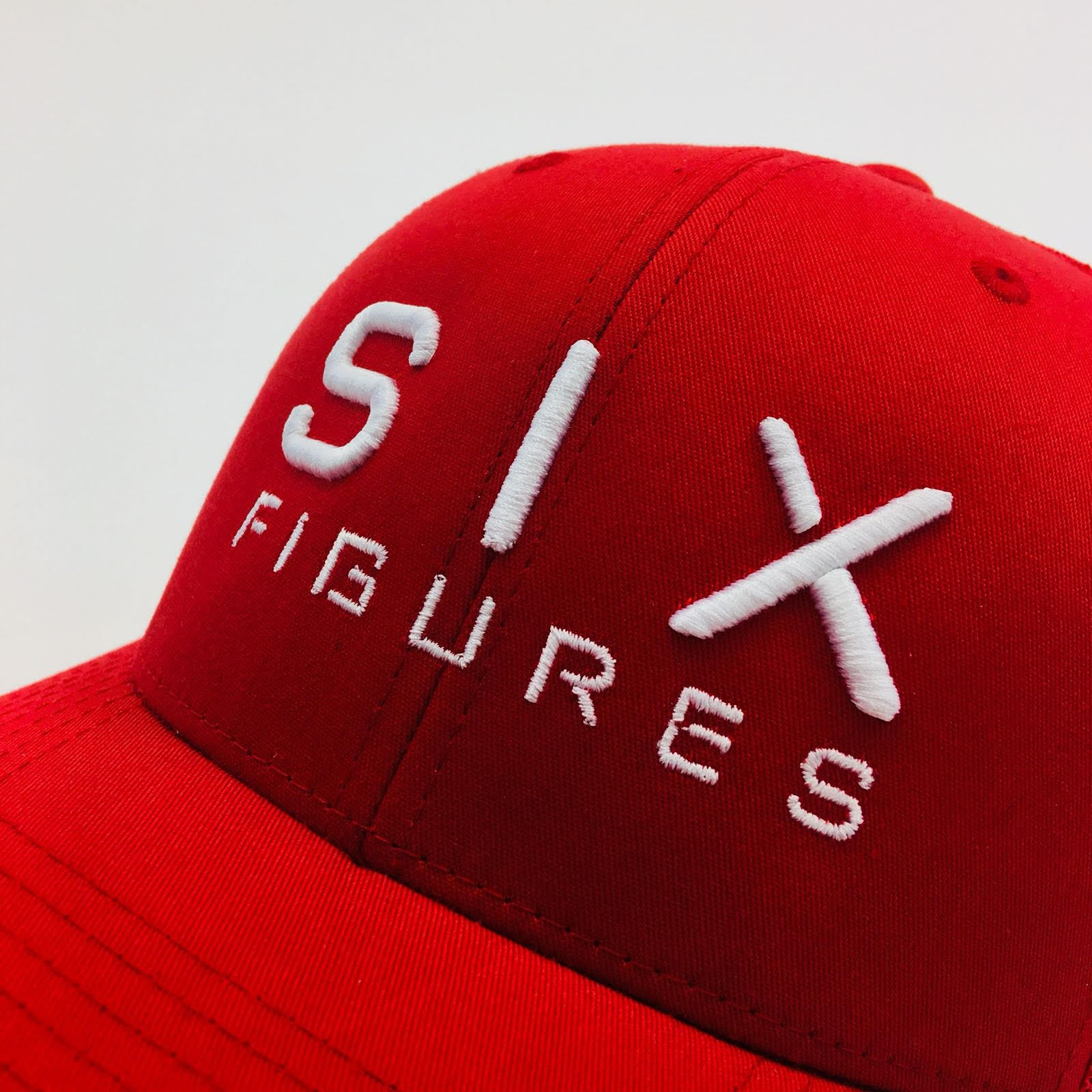 SIX FIGURES Trucker Cap - Red + White - Six Figures Official