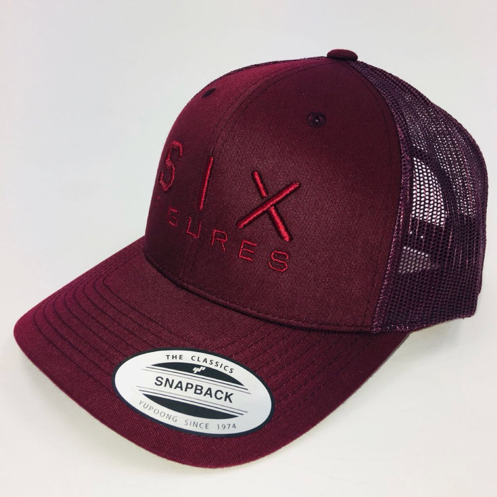 SIX FIGURES Trucker Cap - Maroon + Maroon - Six Figures Official