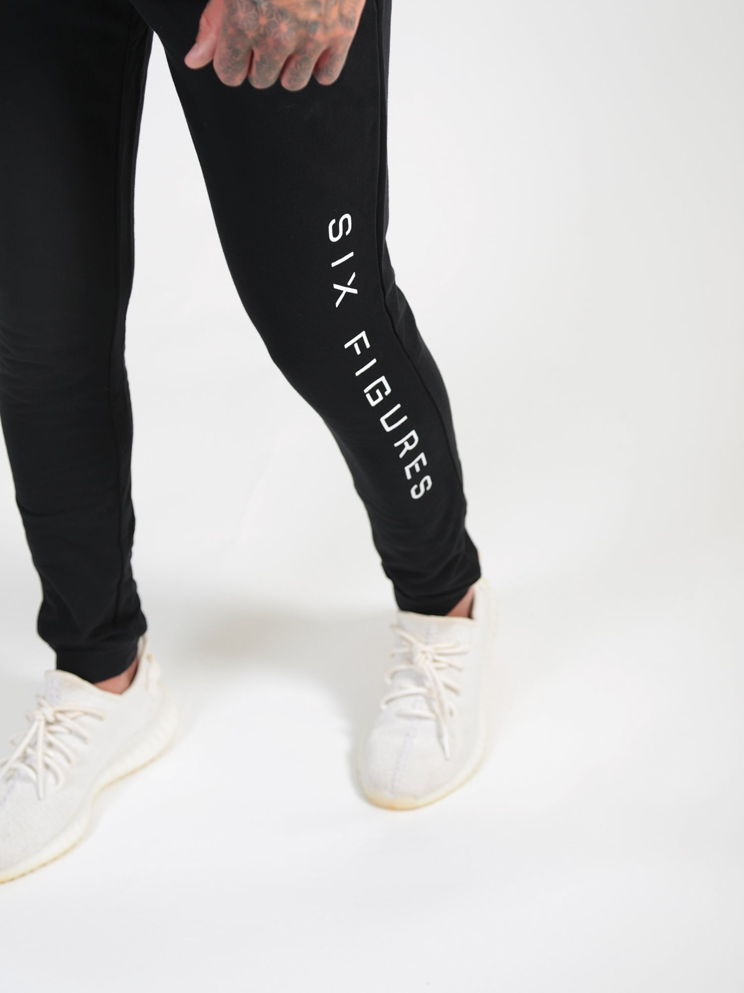 'Six Figures' Side Logo Tracksuit Joggers - Black