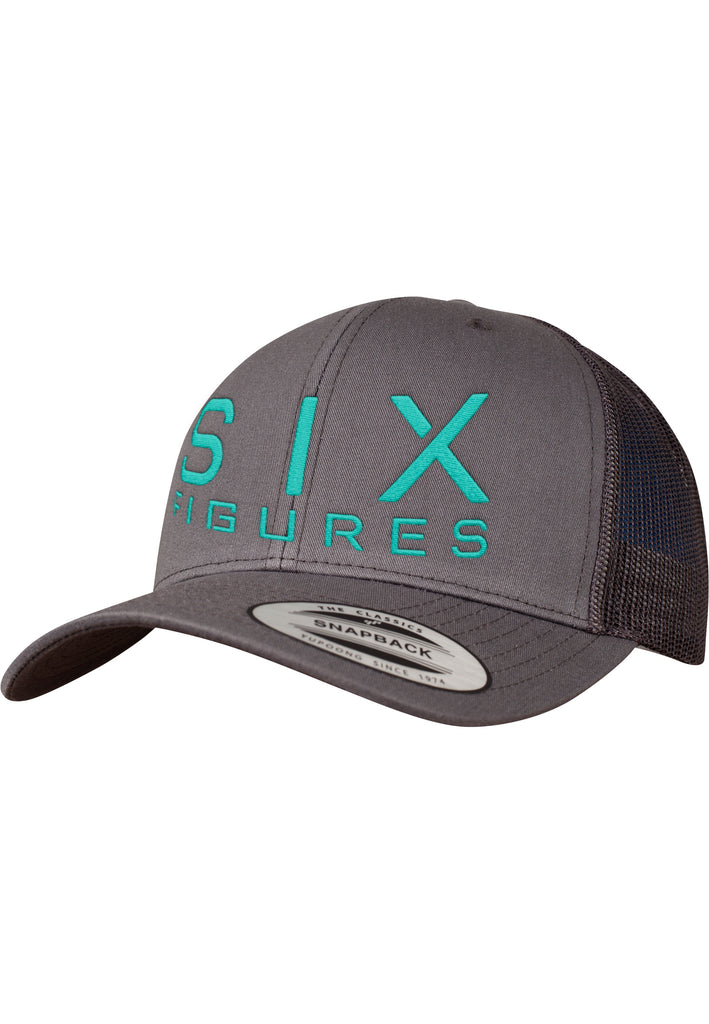 SIX FIGURES Trucker Cap - Turquoise + Grey - Six Figures Official