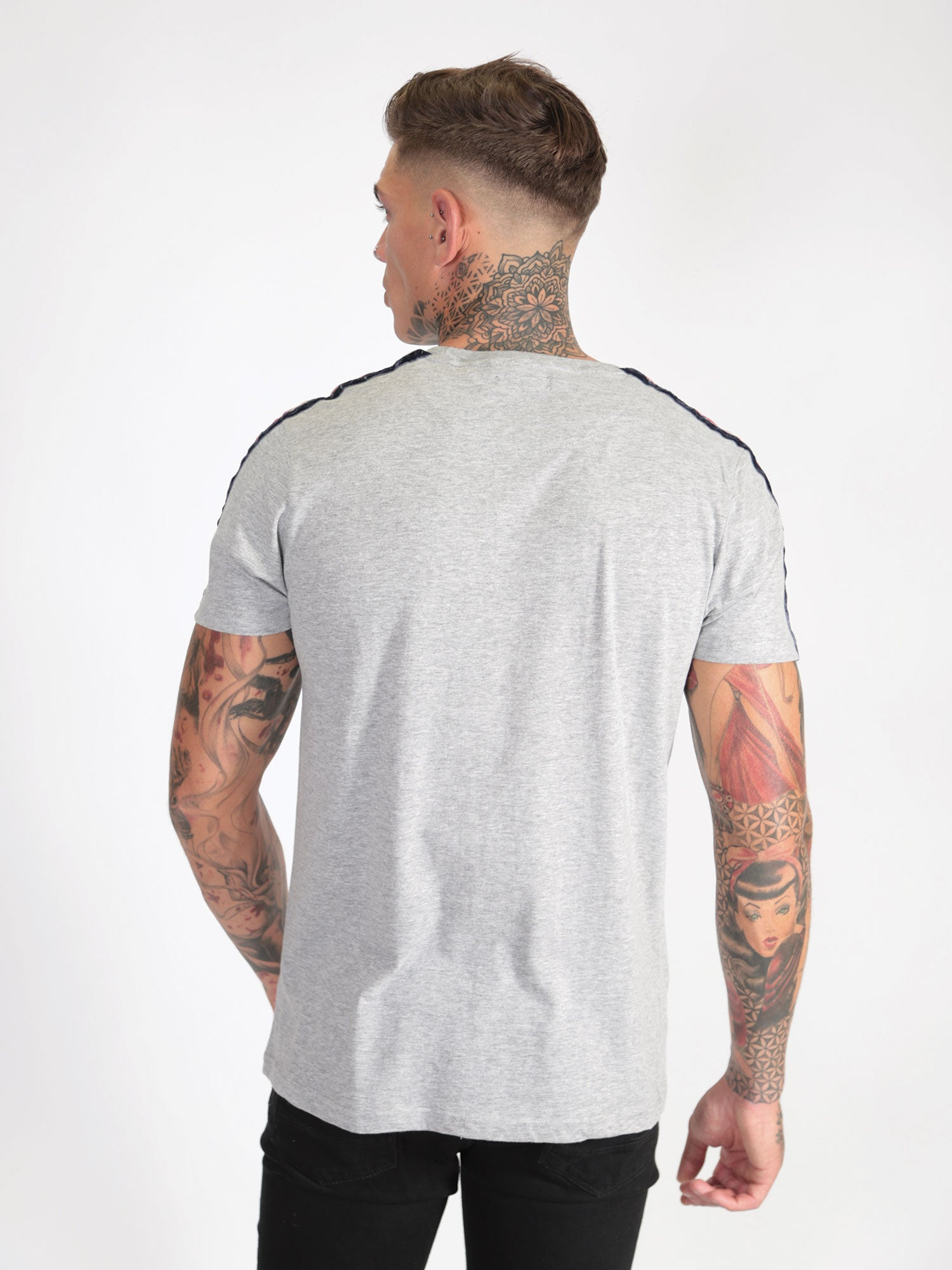 Velour Stripe T-Shirt - Grey